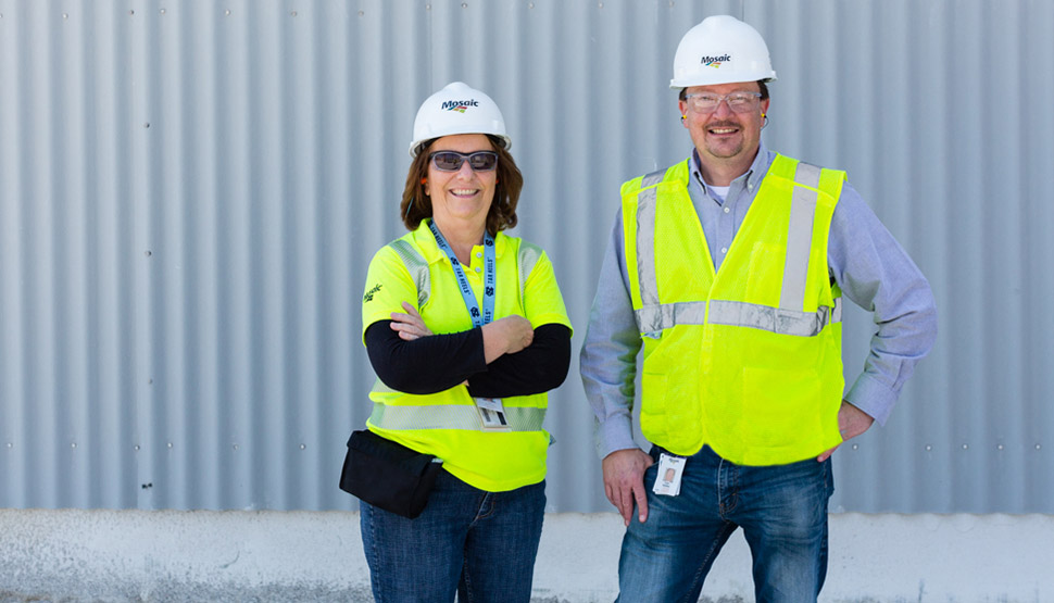 Kay Bourque (left) and Tyler Steffes (right) of The Mosaic Company.