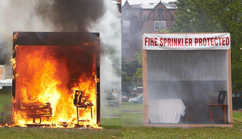 FM Global fire and sprinkler test at University of Pennsylvania